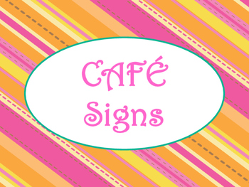 Cafe Daily 5 Bulletin Board Posters/Signs (Tangerine and Hot Pink Theme)