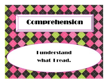 Cafe Daily 5 Bulletin Board Signs (Hot Pink/Lime Green/Black Argyle)