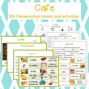 Restaurant and Cafe Conversation lesson and activity