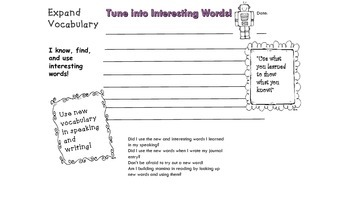 Cafe' Expand Vocabulary Strategies Interactive Notebook Foldables Freebie