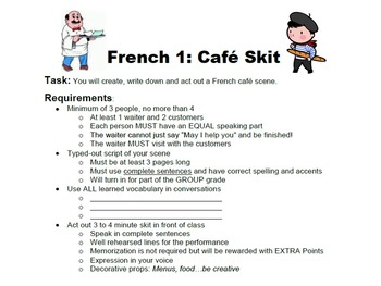 Cafe Skit Project for French 1 Students