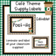 Cafe Theme Classroom Supply Labels - Editable