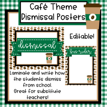 Cafe Theme Dismissal Posters - Editable