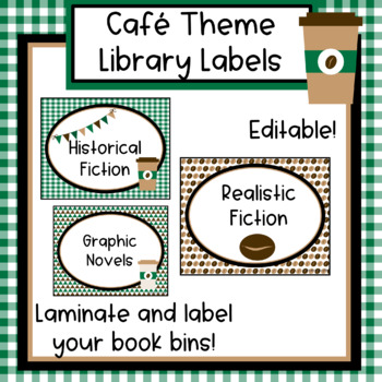 Cafe Theme Library Book Bin Labels - Editable