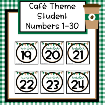 Cafe Theme Student Numbers 1-30
