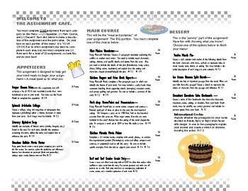 Cafe Themed Menu for Reading Project