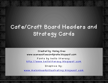 Cafe and Craft Headers and Strategy Cards: Chalkboard and White