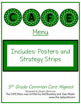 Cafe-themed CAFE Menu 5th CCSS Aligned