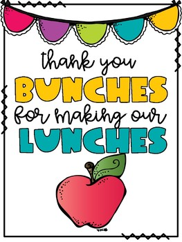Cafeteria Appreciation Day Card by Kinder Kaboodle | TpT