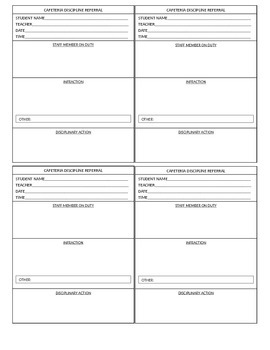 Cafeteria Detention Slips (4 per page)