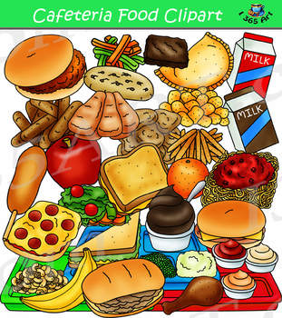 Cafeteria Food Clipart Build A Lunch Tray Clip Art Tpt