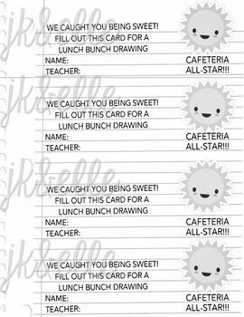 Cafeteria Good Behavior Reward Tickets
