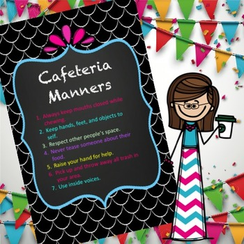 editable Cafeteria Manners (Lunch room rules) Wall sign 17 X 11