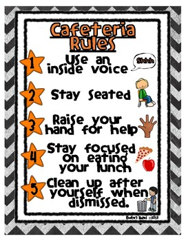Cafeteria Rules / Lunch Room Rules