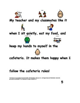 Social Story Cafeteria Rules