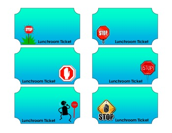 Cafeteria Teacher Tickets, Road Work/ Construction theme