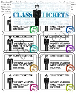 Cafeteria Teacher Tickets, Rules of the Road/ Construction Theme