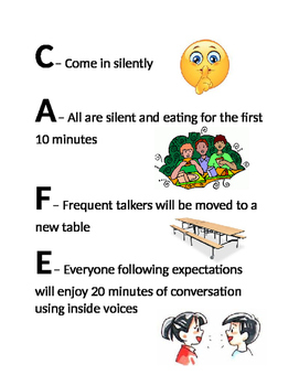 Cafeteria expectations poster for lunch