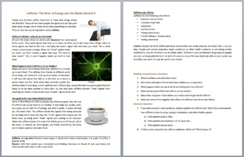 Caffeine: The Elixir of Energy - Science Reading Article - Grades 5-7