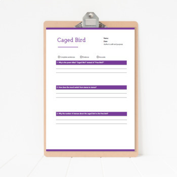 Caged Bird Poem Close Reading Handout with Questions