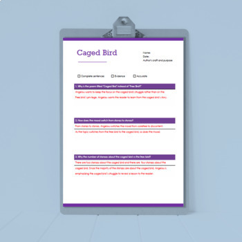 Caged Bird Poem - Reading Questions & Multiple Choice Quiz with Answer Key