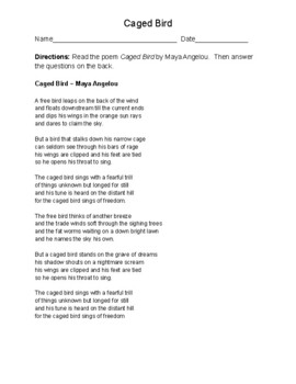 Caged Bird Poem and Discussion Questions (Poem by Maya Angelou)