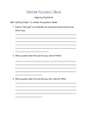 Cages by Peg Kehret student response sheet chapter 10