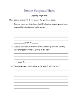 Cages by Peg Kehret student response sheet chapter 16 &17
