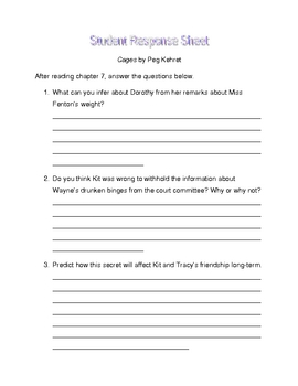 Cages by Peg Kehret student response sheet chapter 7