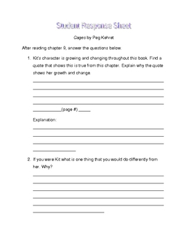 Cages by Peg Kehret student response sheet chapter 9
