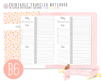 B6 12 Hour Daily Schedule by Hour Traveler Notebook Refill