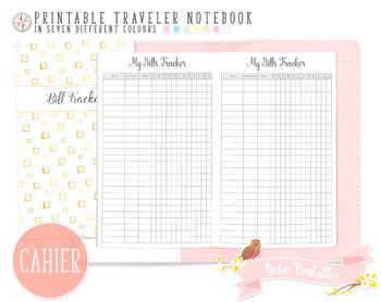 Cahier Bills Tracker Traveler Notebook Refill