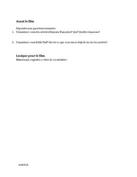 Cahier La Mome FLE - La Vie en Rose Avanced Workbook