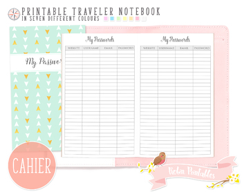 Cahier Password Log Traveler Notebook Refill
