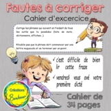 Cahier d'exercice : fautes à corriger