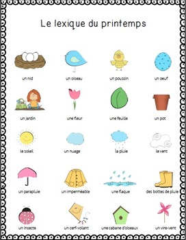 Cahier d'activités du printemps/French Spring activities printable