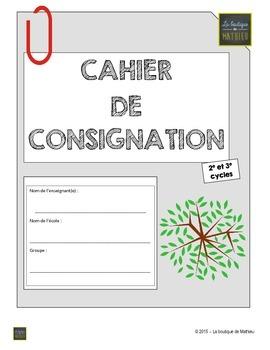 Cahier de consignation du 2e et 3e cycle (PDF – Formulaire