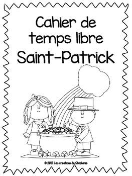 Cahier de temps libre pour la fête de la Saint-Patrick