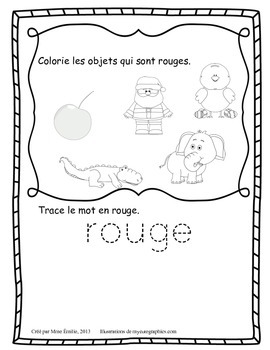 Cahier des couleurs/ French colors activities printable