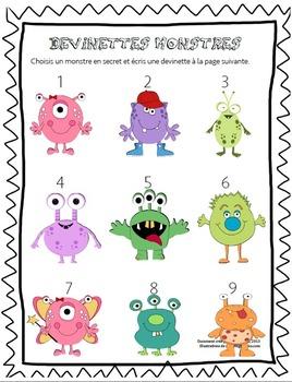 Cahier d'activités sur les monstres