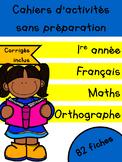 Cahiers français et maths - Avril - 1re année