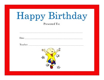 Caillou Birthday Certificates (Includes 4 Certificates)