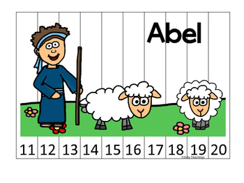 Cain and Abel 11-20 Sequence Puzzle printable game. Presch
