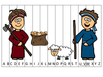 Cain and Abel A-Z Sequence Puzzle printable game. Preschool Bible Study Curricul