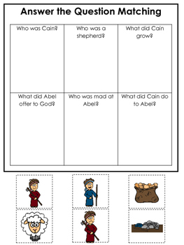 Cain and Abel Answer the Question printable game. Preschoo