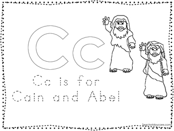 Cain and Abel Color and Trace Worksheet. Preschool-Kindergarten Bible Study.
