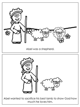 Cain and Abel Emergent Reader printable worksheets. Preschool Bible Curricul