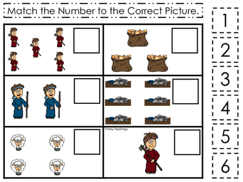 Cain and Abel Match the Number printable game. Preschool B