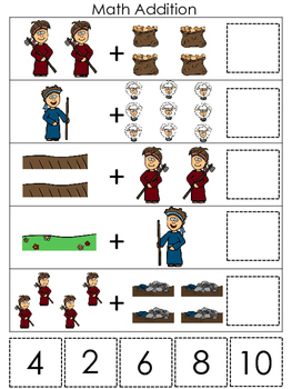 Cain and Abel Math Addition printable game. Preschool Bible Study Curriculum