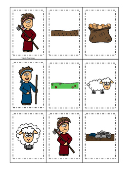 Cain and Abel Memory Match printable game. Preschool Bible